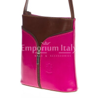 Borsa donna in vera pelle MAESTRI mod. SONIA colore FUCSIA / MARRONE, Made in Italy