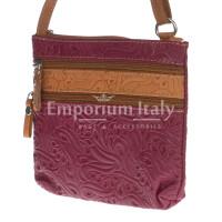 Borsa donna in vera pelle CHIARO SCURO mod. SABINA colore BORDO' Made in Italy