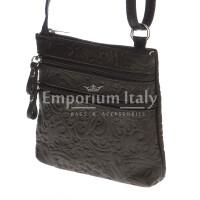 Borsa donna in vera pelle CHIARO SCURO mod. SABINA colore NERO Made in Italy