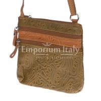 Borsa donna in vera pelle CHIARO SCURO mod. SABINA colore TAUPE Made in Italy