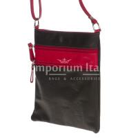 Borsa donna in vera pelle CHIARO SCURO mod. TECLA colore NERO / ROSSO, Made in Italy