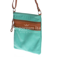 Borsa donna in vera pelle CHIARO SCURO mod. TECLA colore AZZURRO / MIELE, Made in Italy