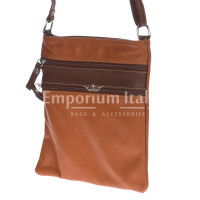 Borsa donna in vera pelle CHIARO SCURO mod. TECLA colore MIELE / MARRONE, Made in Italy