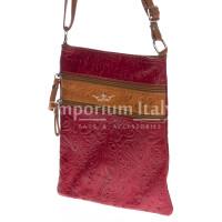 Borsa donna in vera pelle CHIARO SCURO mod. TECLA colore ROSSO / MIELE, Made in Italy