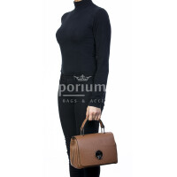 Borsa donna in vera pelle, DELIA REI, mod EVELIN colore marrone, Made in Italy.