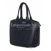 Borsa donna in vera pelle, DELIA REI, mod VICTORIA colore nero, Made in Italy.