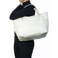 Borsa donna in vera pelle, DELIA REI, mod ELODY colore beige, Made in Italy.