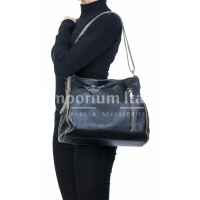 Borsa donna in vera pelle, DELIA REI, mod ANGELINA colore nero / taupe, Made in Italy.