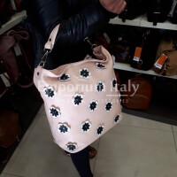 FLORIANA: borsa donna in pelle morbida, a spalla, a tracolla, colore : ROSA, Made in Italy