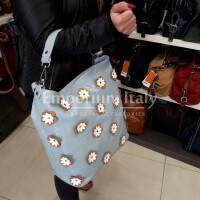 FLORIANA: borsa donna in pelle morbida, a spalla, a tracolla, colore : AZZURRO, Made in Italy