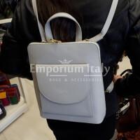 MONTE ADAMELLO : borsa - zaino donna in pelle morbida, colore: GRIGIO CHIARO, Made in Italy.