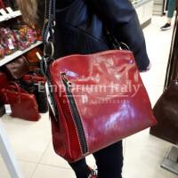 ORNELLA : borsa donna a spalla in cuoio, colore : ROSSO / NERO, Made in Italy
