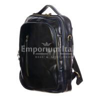 Monte KILIMANGIARO : borsa-zaino uomo / donna in cuoio, colore: BLU, EMPORIUM ITALY, Made in Italy