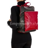 MONVISO : borsa - zaino donna, pelle morbida, colore: NERO / ROSSO Made in Italy