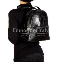 Monte NEVIS : zaino donna, pelle morbida, colore : NERO, Made in Italy