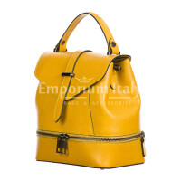 CAMY : borsa - zaino donna, pelle safiano rigida, colore : GIALLO, Made in Italy.
