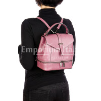 CAMY : borsa - zaino donna, pelle safiano rigida, colore : ROSA, Made in Italy.
