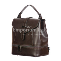 CAMY : borsa - zaino donna, pelle safiano rigida, colore : TESTAMORO, Made in Italy.