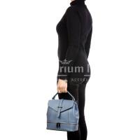 CAMY : borsa - zaino donna, pelle safiano rigida, colore : AZZURRO, Made in Italy.