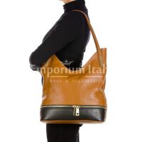 LUISA : borsa donna a spalla, pelle morbida, colore : MARRONE / NERO, Made in Italy