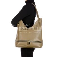 LUISA : borsa donna a spalla, pelle morbida, colore : TAUPE, Made in Italy