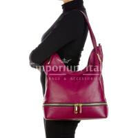 LUISA : borsa donna a spalla, pelle morbida, colore : PRUGNA, Made in Italy