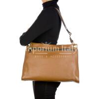 EMMA : borsa donna a spalla, pelle morbida, colore : MARRONE, Made in Italy