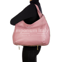 DAISY : borsa donna a spalla, pelle morbida, colore: ROSA, Made in Italy.