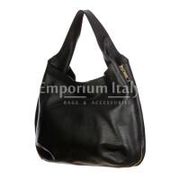 DAISY : borsa donna a spalla, pelle morbida, colore: NERO, Made in Italy.