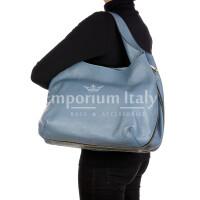 DAISY : borsa donna a spalla, pelle morbida, colore: AZZURRO, Made in Italy.