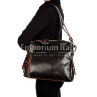 ORNELLA : borsa donna a spalla in cuoio, colore : NERO / TESTAMORO, Made in Italy