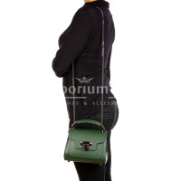 AGNES : borsa donna mini, pelle saffiano, colore : VERDE SCURO, Made in Italy