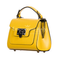 AGNES : borsa donna mini, pelle saffiano, colore : GIALLO, Made in Italy