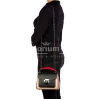 AGNES : borsa donna mini, pelle saffiano, colore : ROSA / NERO / ROSSO, Made in Italy