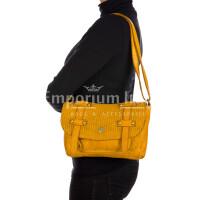 VELIA : borsa donna, pelle invecchiata / vintage, colore : GIALLO, Made in Italy