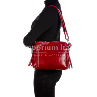 ORNELLA MINIi: ladies shoulder bag in buffered leather, color : RED, Made in Italy