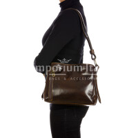 ORNELLA MINIi: ladies shoulder bag in buffered leather, color : DARK BROWN, Made in Italy
