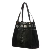 CORINNE: borsa donna a spalla, semirigida, pelle morbida, colore: NERO, Made in Italy