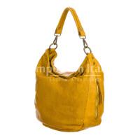 VERONICA : borsa donna a spalla, a tracolla, pelle morbida vintage, colore : GIALLO, Made in Italy