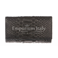 Portafoglio donna in vera pelle pitone SANTINI mod GIRASOLE colore NERO Made in Italy.