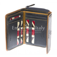 Ladies wallet in genuine nubuck leather HARVEY MILLER mod EDERA color BLUE, Made in Italy.