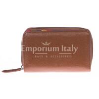 Portafoglio donna in vera pelle tradizionale SANTINI mod LAVANDA colore MARRONE Made in Italy.