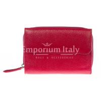 Portafoglio donna in vera pelle tradizionale SANTINI mod CASSIA colore ROSSO Made in Italy.