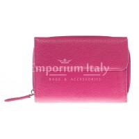 Portafoglio donna in vera pelle tradizionale SANTINI mod CASSIA colore FUCSIA Made in Italy.