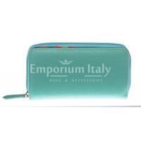 Portafoglio donna in vera pelle tradizionale SANTINI mod CAMOMILLA colore AZZURRO Made in Italy.