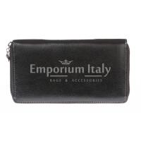 Portafoglio donna in vera pelle tradizionale SANTINI mod BIANCOSPINO colore NERO Made in Italy.