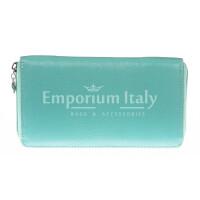 Portafoglio donna in vera pelle tradizionale SANTINI mod BIANCOSPINO colore AZZURRO Made in Italy.