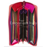 Portafoglio donna in vera pelle tradizionale SANTINI mod BIANCOSPINO colore ROSA Made in Italy.