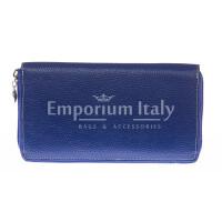 Portafoglio donna in vera pelle tradizionale SANTINI mod BIANCOSPINO colore BLU Made in Italy.
