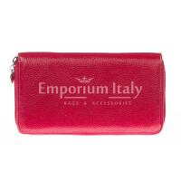 Portafoglio donna in vera pelle tradizionale SANTINI mod BIANCOSPINO colore ROSSO Made in Italy.